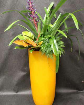 yellow floor plant planter